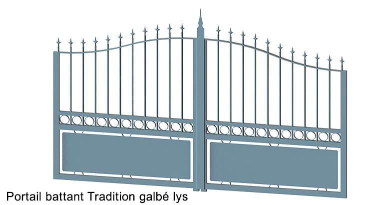 portail-battant-tradition-galbé + Lys
